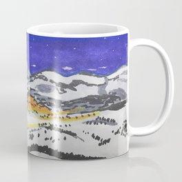 Snowy escape through the mountains under the starlight  Coffee Mug