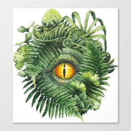 Watercolor dinosaur eye and prehistoric plants Canvas Print