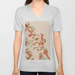 BUENOS AIRES ARGENTINA CITY MAP EARTH TONES Unisex V-Neck