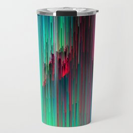 Just Chillin' - Abstract Neon Glitch Pixel Art Travel Mug