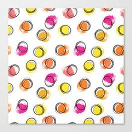 Colorful  brush blots and circle Canvas Print