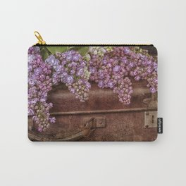 Vacation in the spring- lilac and vintage suitcase Carry-All Pouch