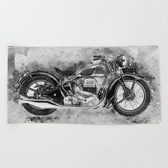 Vintage Motorcycle No2 Beach Towel