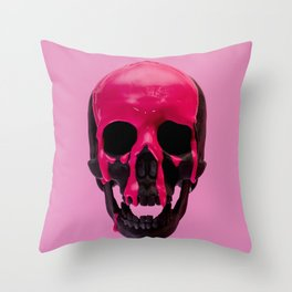 Pink Dripping Skull Throw Pillow