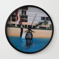 scuba Wall Clocks featuring Scuba Diving by MucklowArt