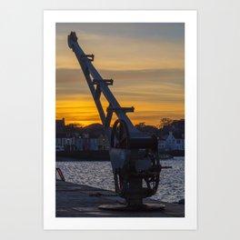 Donaghadee Crane - Sunset Art Print