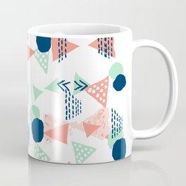 Navy painted shapes polka dots minimal basic decor mint peach and blue pattern Coffee Mug