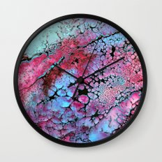 Magenta in turquoise Wall Clock