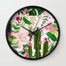 pink desert flowers Wall Clock