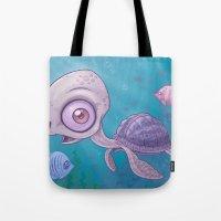 sea turtle Tote Bags featuring Sea Turtle by John Schwegel
