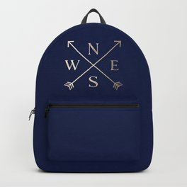Gold on Navy Blue Compass Backpack
