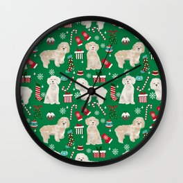 Cockapoo dog breed christmas holiday pet portrait pattern gifts Wall Clock