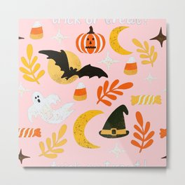 Halloween Cheer in Pink Metal Print