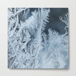 White Ice Crystals On Blue Background #decor #society6 #homedecor Metal Print