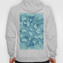 Grunge floating hearts in blue Hoody