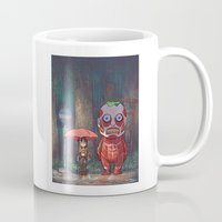 attack on titan Mugs featuring My Neighbor Titan by Ron Chan