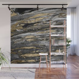 Stylish gold abstract marbleized paint Wall Mural