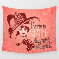 spain Wall Tapestries featuring The rain in Spain by Pepetto