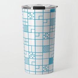 Boxes Blue Pattern Travel Mug