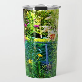 Lilies By The Fence Travel Mug