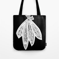 blackhawks Tote Bags featuring Inverted Chicago Blackhawks by Alexandra Nee