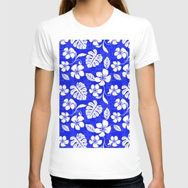Blue and White Hibiscus Aloha Hawaiian Flower Blooms and Tropical Banana Leaves Pattern T-shirt