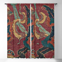 Flowery Arabic Rug III // 17th Century Colorful Plum Red Light Teal Sapphire Navy Blue Ornate Patter Blackout Curtain