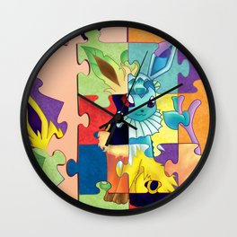 Eeveelution Poke Puzzle Wall Clock