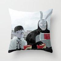 donnie darko Throw Pillows featuring Donnie Darko and Frank by AdamAddams