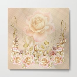 Blush Roses and Golden Leaves Metal Print