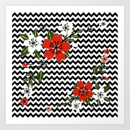 Floral on Black and White Background Art Print