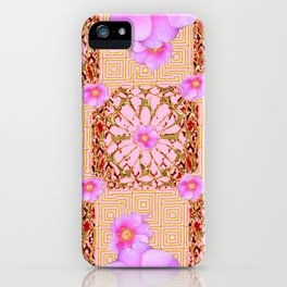 Delicate French Style Fuchsia Pink Wild Rose Gold Jewelry Abstract iPhone Case