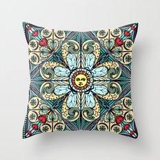 Vintage Style Sun Mandala Throw Pillow