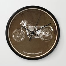 Royal Enfield motorcycle original circle art print and motorcycle quote Wall Clock