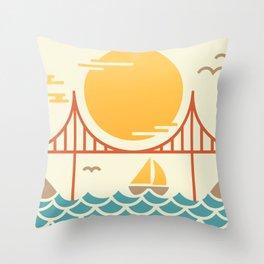 San Francisco Golden Gate Bridge Illustration Throw Pillow