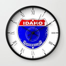 Idaho Flag Icons As A  Interstate Sign Wall Clock