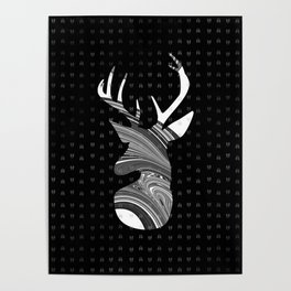 Black and White Deer Abstract Design Poster