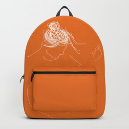 A girl dancing with orange Backpack