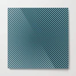 Aquamarine and Black Polka Dots Metal Print