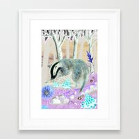 badger Framed Art Prints featuring badger by ahatom