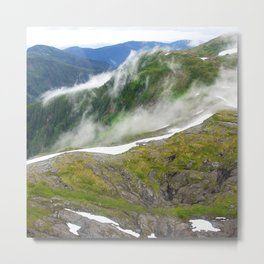 Alaska Mountain Tops With Summer Snow & Mist Metal Print