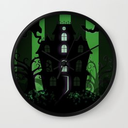 Be it ever so Haunted, there's no place like Home - Green Wall Clock