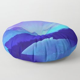 Cerulean Blue Mountains Floor Pillow