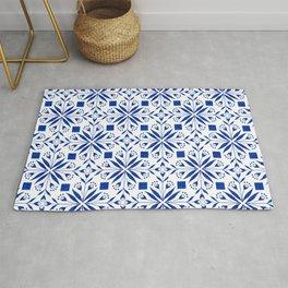 Delft Blue Floral Tile Pattern Rug