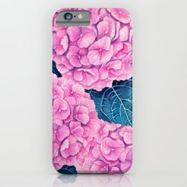 Hydrangea watercolor pattern, pink and blue iPhone Case