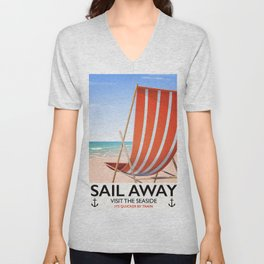 Sail Away Deckchair travel poster Unisex V-Neck