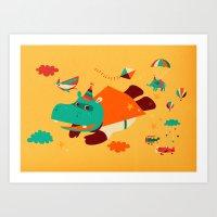 Super Hippo! Art Print