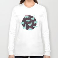 dinosaurs Long Sleeve T-shirts featuring Funny dinosaurs by Evgeniya Ivanova