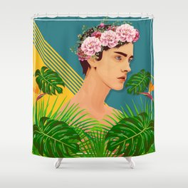 BOY OVER FLOWERS Shower Curtain