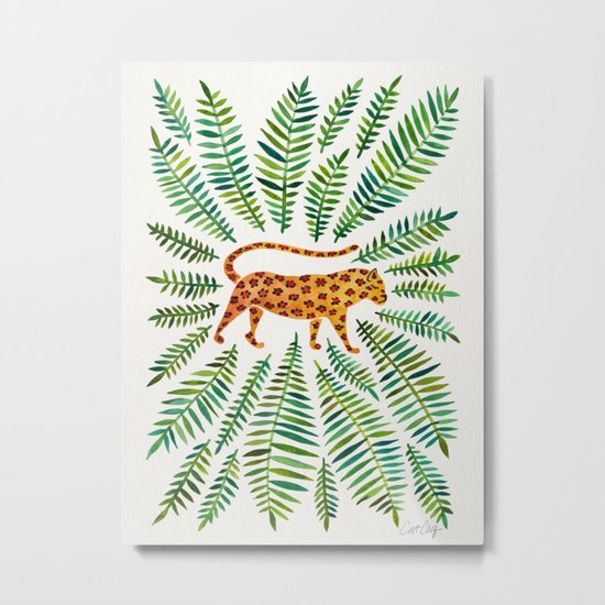 Jaguar – Green Leaves Metal Print